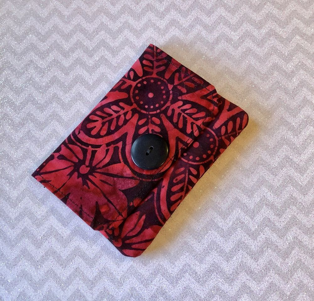 Fabric Credit Card Wallet, Business Card Holder, Black and Red Batik ...