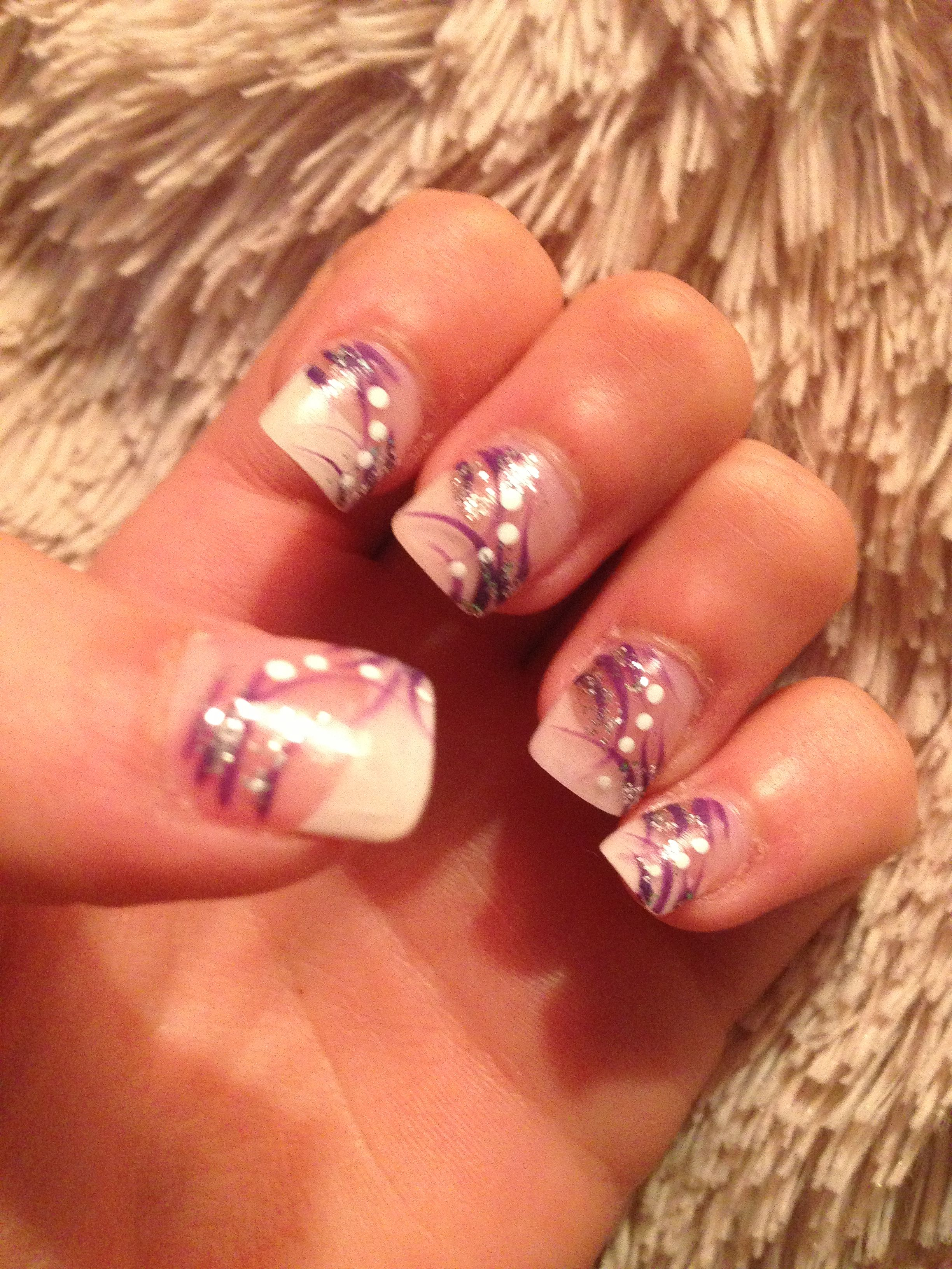 White tip with purple and glitter. White dots #lovethem