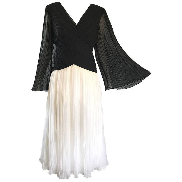 2303241eb6 1970s Jill Richards Black and White Pleated Bell Sleeve Chiffon 70s Midi  Dress