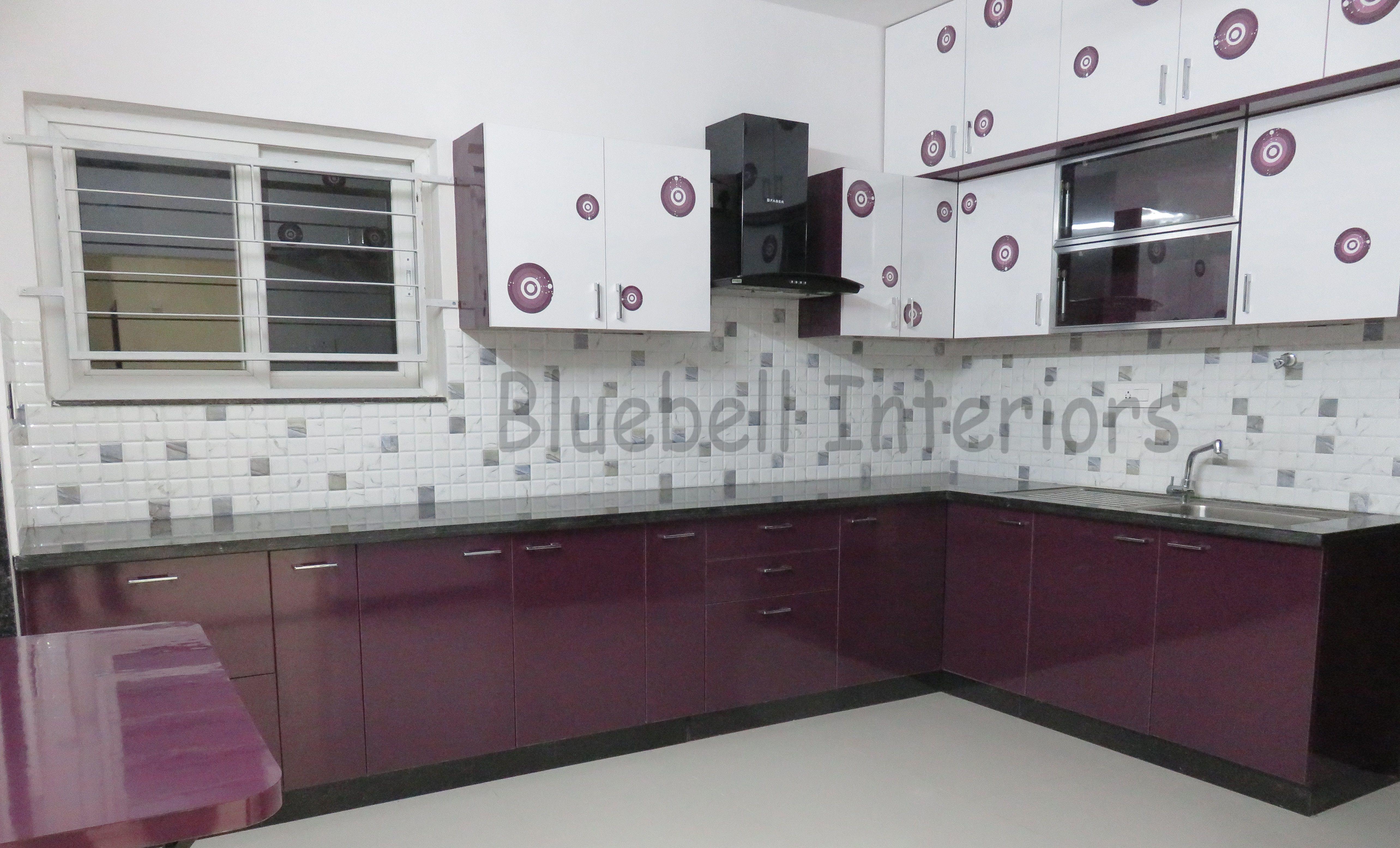 L shape modular kitchen, Purple & white kitchen, digital printed ...