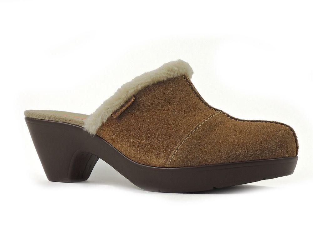 Anne Kleine Women's Glenville Clogs Dark Natural Suede Slides Size 8 M #AnneKlein #Slides