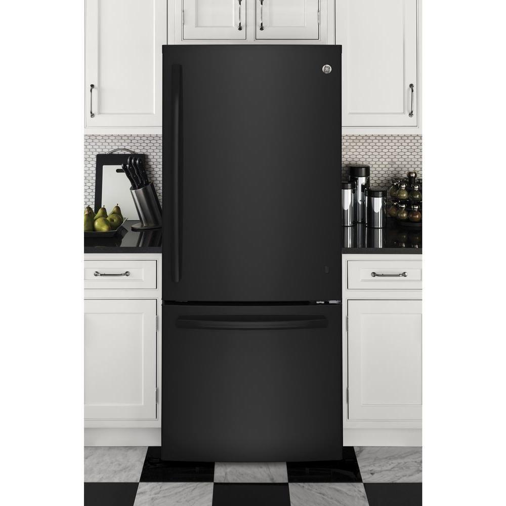 Ge 21 Cu Ft Bottom Freezer Refrigerator In Black Energy Star Gde21egkbb The Home Depot In 2020 Bottom Freezer Refrigerator Bottom Freezer Refrigerator