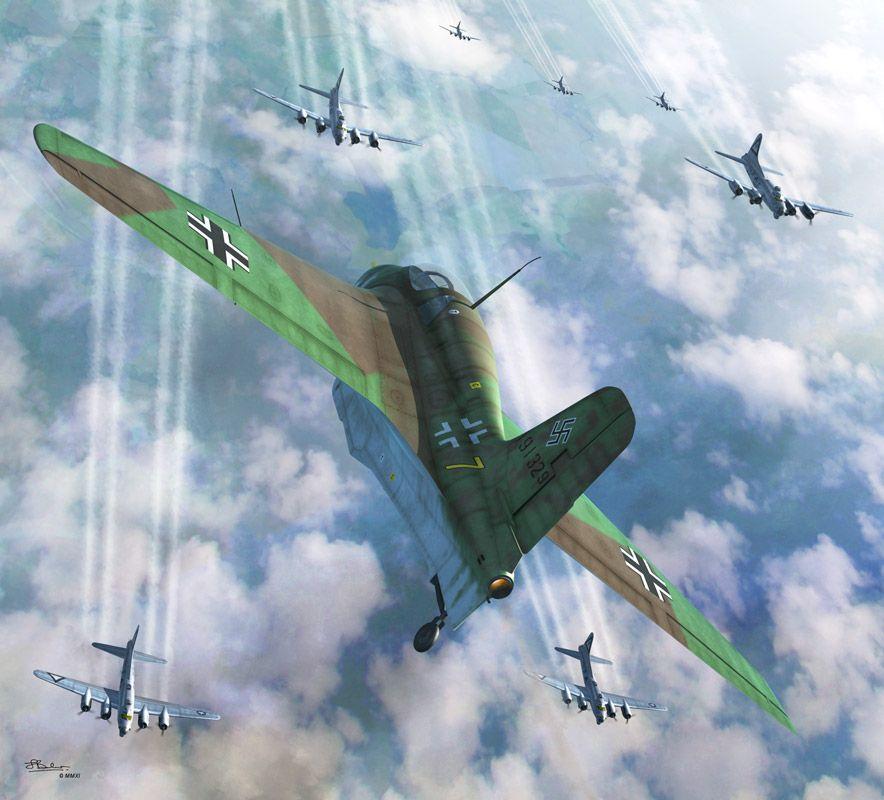 Airliners Net: Messerschmitt Me 163 Komet Vs B-17G Flying Fortress, By