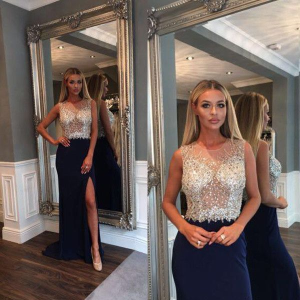 Black Side Split Sparkly Beaded Top Long Evening Prom