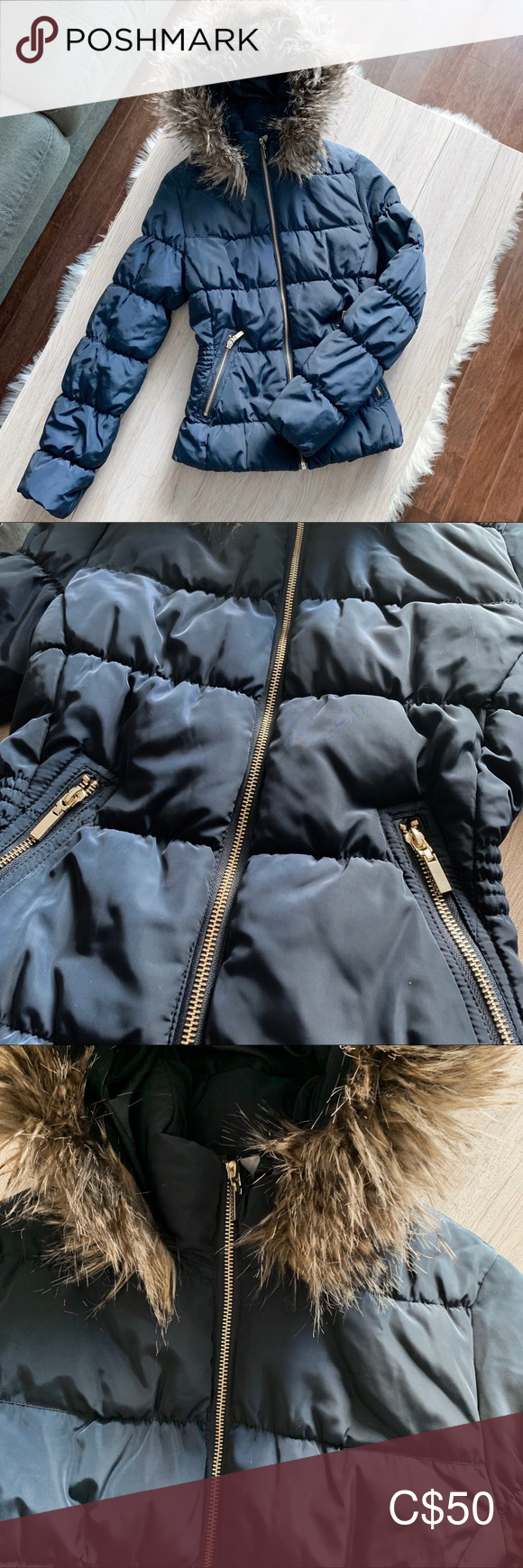 H&M Puffer Winter Jacket w/ Fur Hood Winter jackets, Fur
