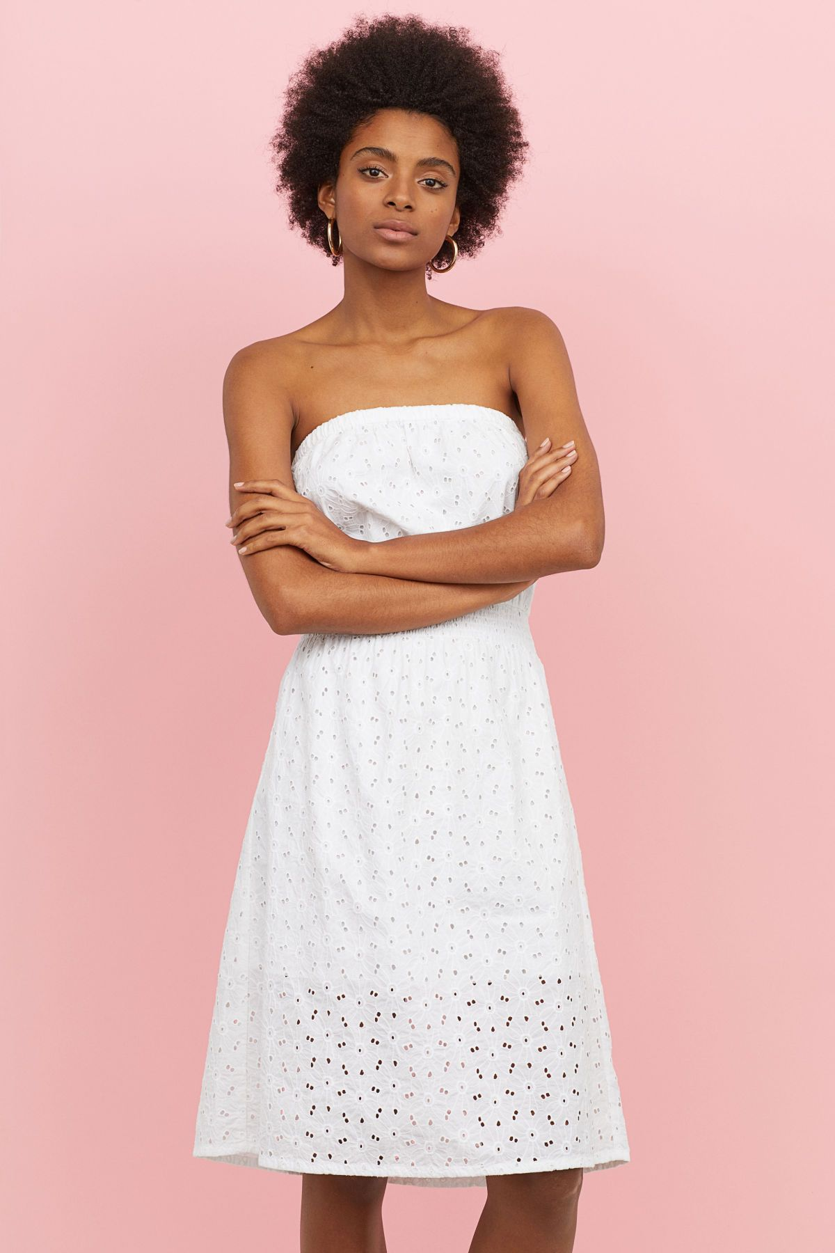 White Strapless Dress In Woven Cotton Fabric With Eyelet Embroidery Elastication At Top And A Smocked Waist L Strapless Dress Formal Strapless Dress Dresses
