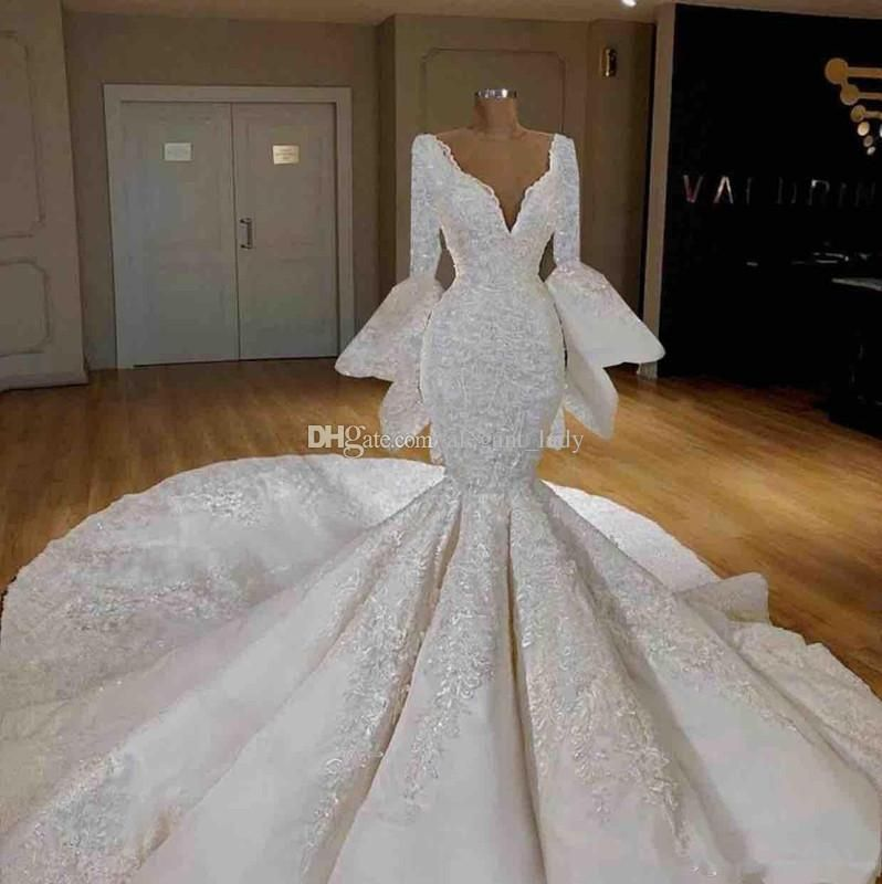2020 Elegant Mermaid Wedding Dresses Lace Applique Sheer Jewel Neck Long Sleeves Ruffles Tiered Skirts Chapel Train Button Back Bridal Gowns Bride Dresses 2015 Cheap Bridal Dresses From Fashionhouse2020, 2.81
