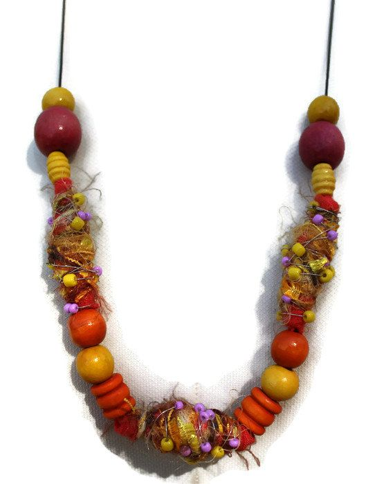 Orange and Yellow Necklace  Textile Necklace  by KennaInAfrica, $25.00