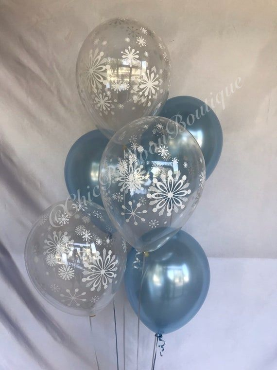 Snowflake Balloons - Snowflake and Pearl Blue Balloons - Onederland - Winter Wonderland Shower - Baby Shower Balloons