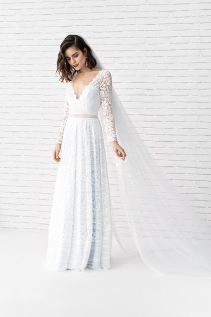 found at Happy Bridal, elegant bridal gown, elegant bridal gown, marylise, lace, lace dress, classy, elegant, flowing, back neckline, …