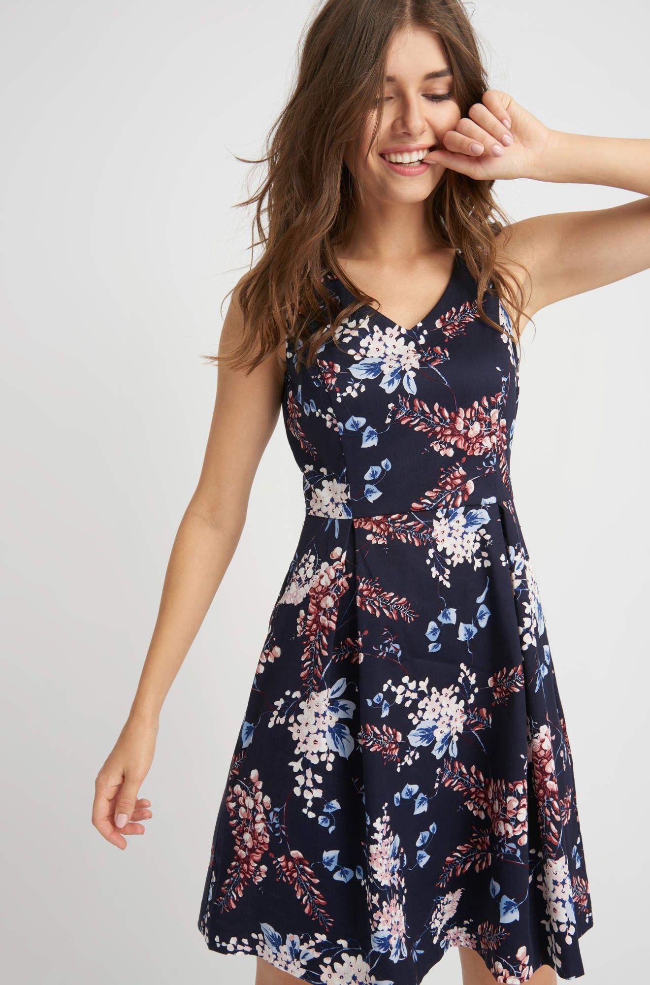 Rozkloszowana Sukienka W Kwiaty Orsay Dresses Fashion Casual Dress