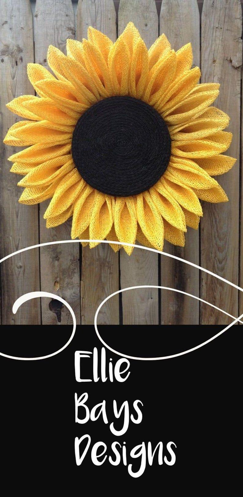 Photo of Sunflower Wreath, Front Door Wreath, Year Round wreath,  Summer Wreath, Burlap Wreath, Fall Wreath, Yellow Burlap Wreath, Spring