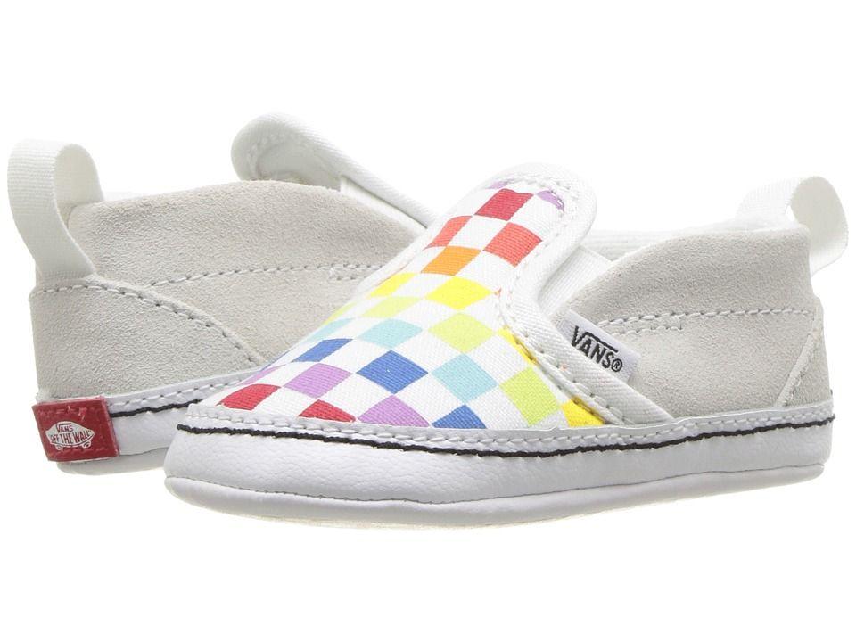 98a8ffd01d Vans Kids Slip-On V Crib (Infant Toddler) Girls Shoes (Checkerboard)  Rainbow True White