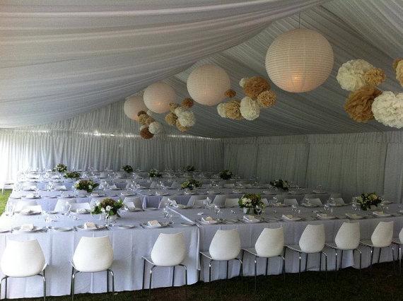 100 Tissue Paper Pom Poms Large Wedding Event Decorations Tent