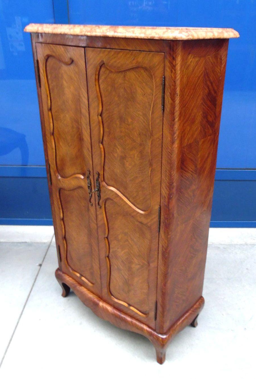 Armadietto profondo 31 cm 2 ante in stile Luigi XV primo '900 mogano piano in marmo