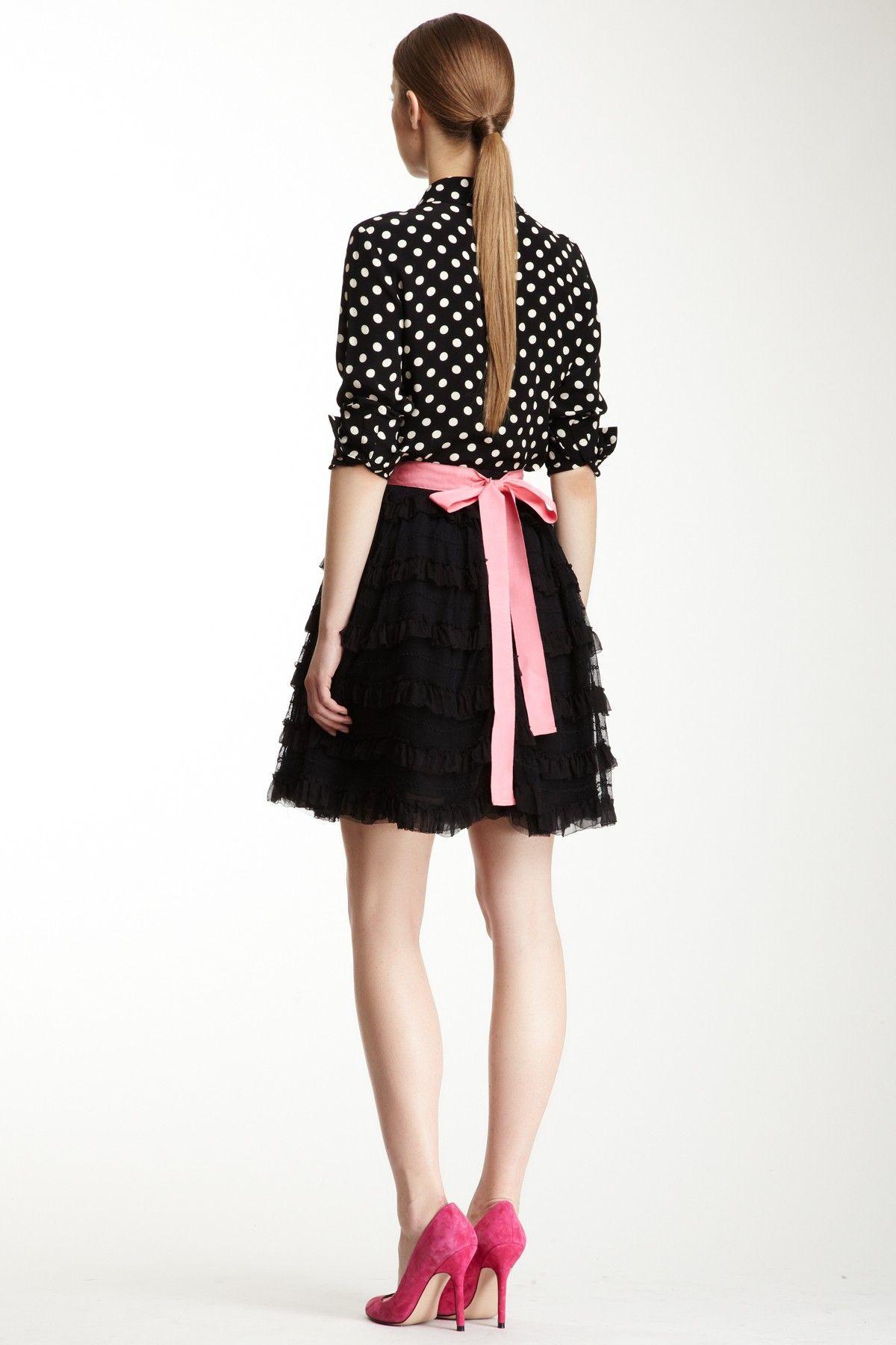 RED Valentino Silk Blend TieRED Ruffle Skirt