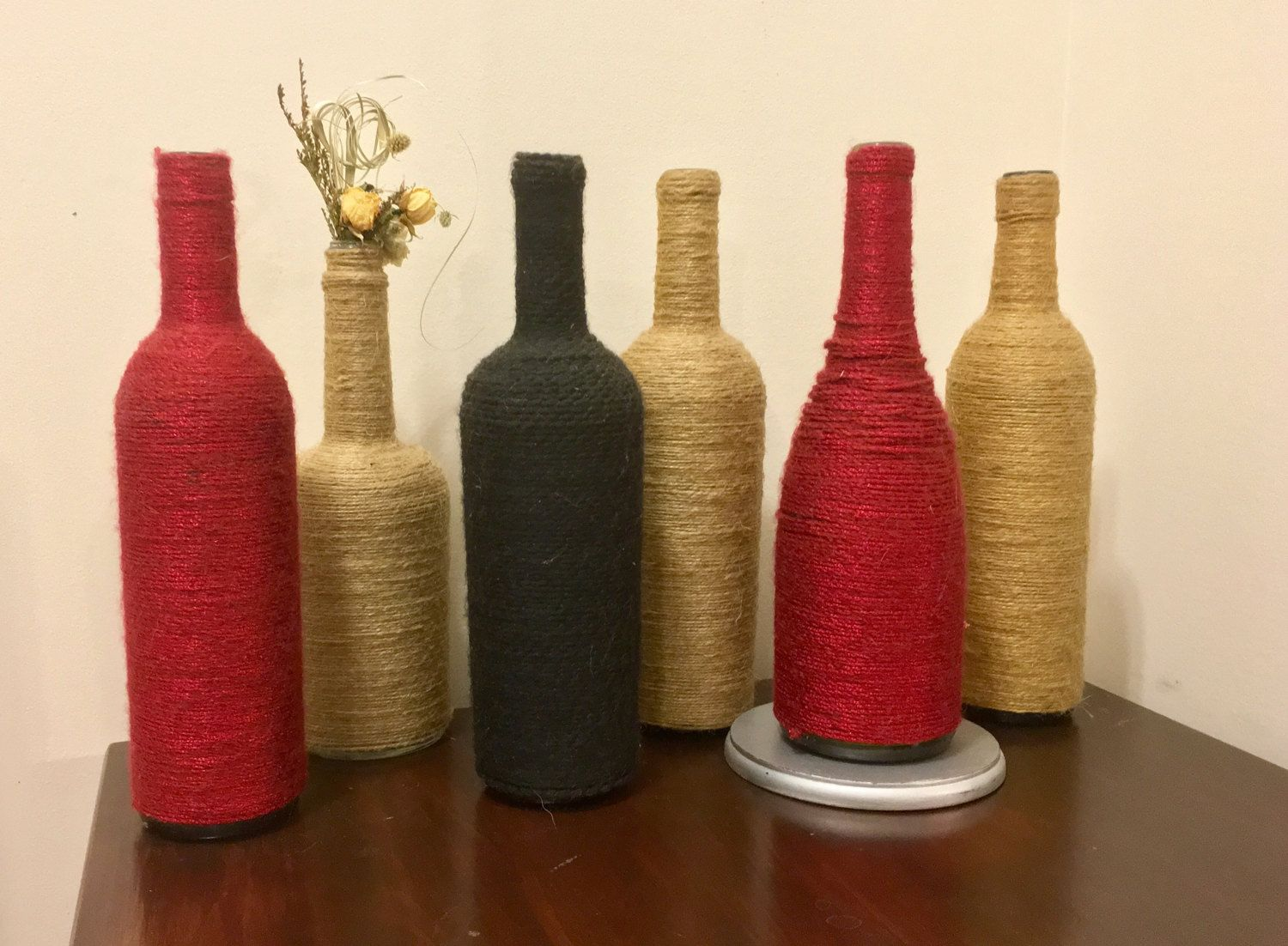 Twine Wrapped Wine Bottles Perfect For Misc Decorations Or Centerpieces 9 Each Or 3 For 24 12 Bottles Decoration Twine Wine Bottles Wine Bottle Decor