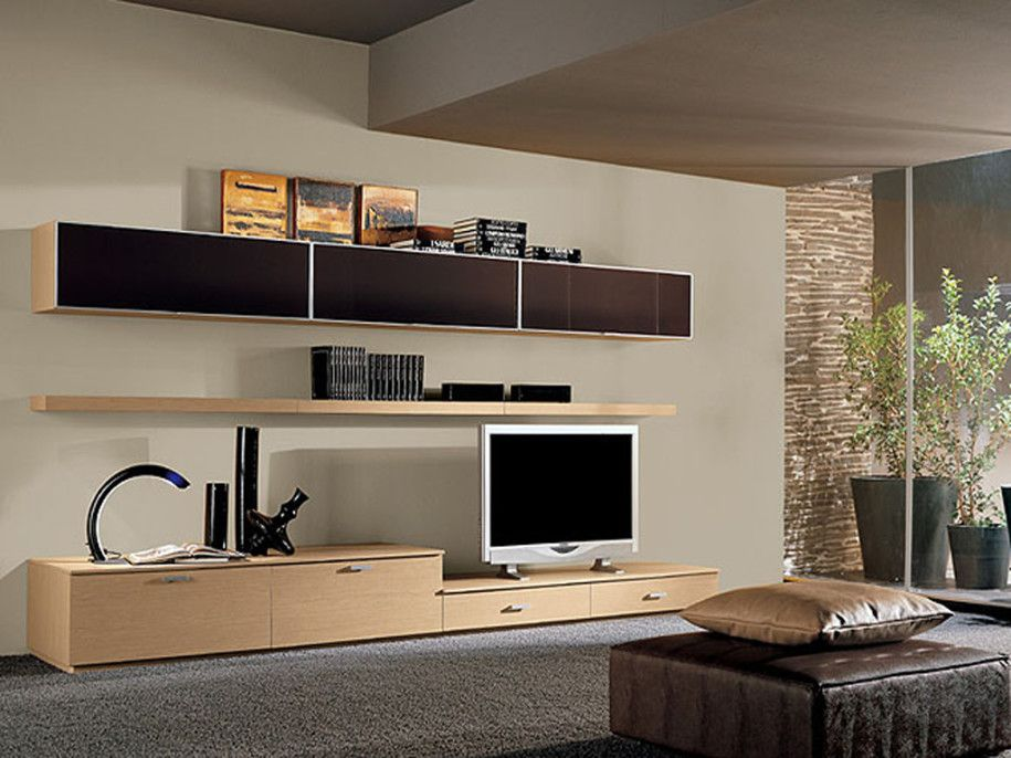 Futuristic TV Unit Design Supplied With Hidden Lights And Bookcase ...