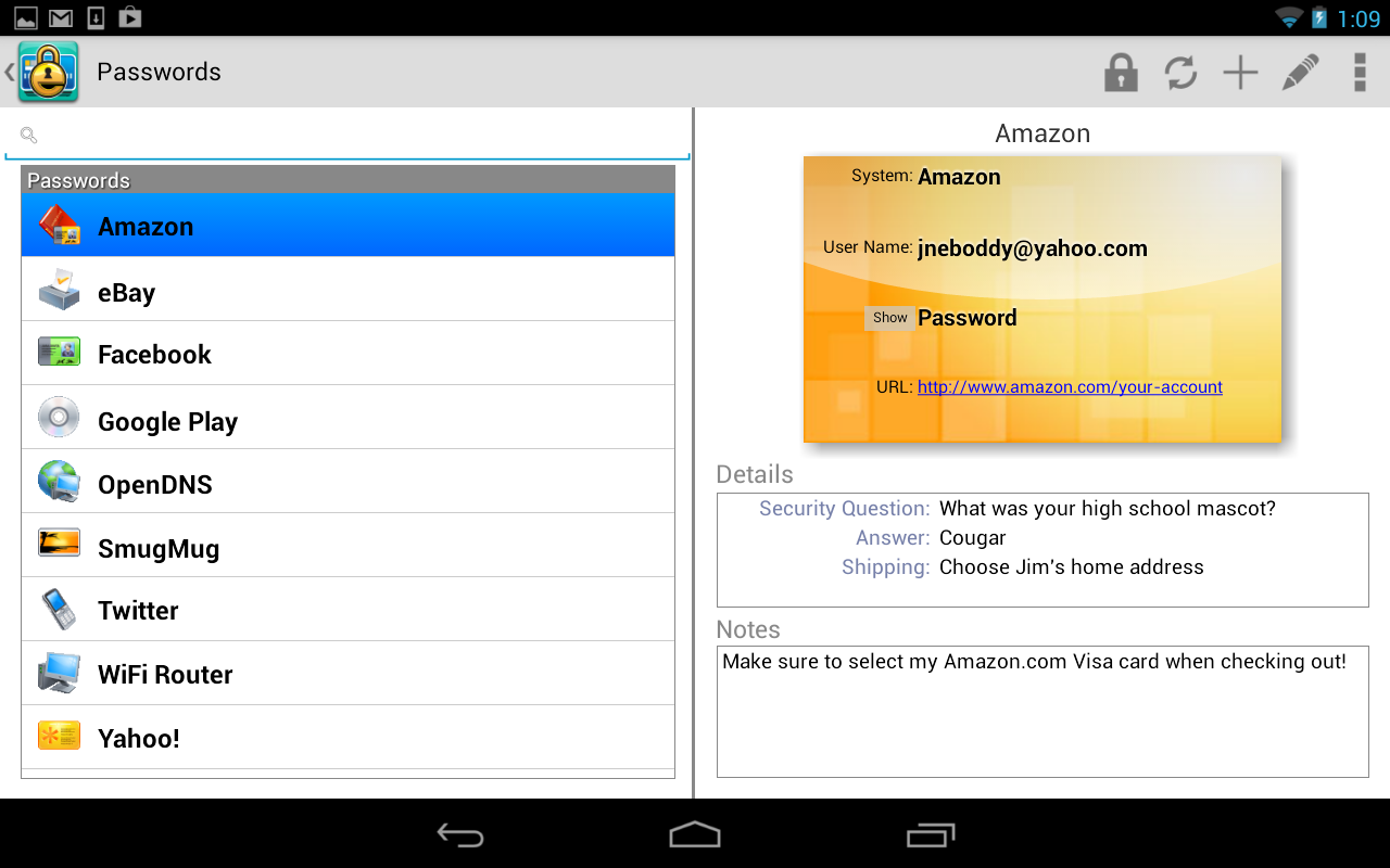 eWallet Password Manager and Secure Storage Database