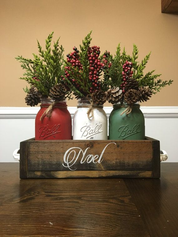 Mason Jar Christmas Centerpiece Mason Jar Christmas Noel Mason Jar Christmas Decor Christmas Table Decor Holiday Decor Mason Jar Table Christmas Jars Christmas Decorations Christmas Centerpieces