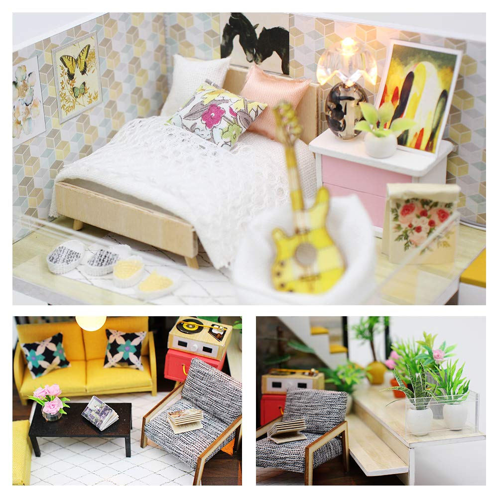 VKROOM Girl DIY Dollhouse Kits Mini Dollhouse Creative Toy Teenagers DIY Handmade Furniture Mini Villa Miniature Collection Gift for Women Room Decoration 1:24 with Music Box Dust Cover