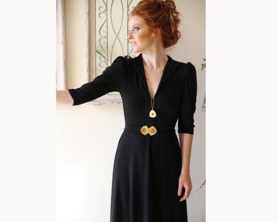 Schwarz Maxi Kleid / aufgeblasen lange Ärmel Kleid von PizkaFashion ...