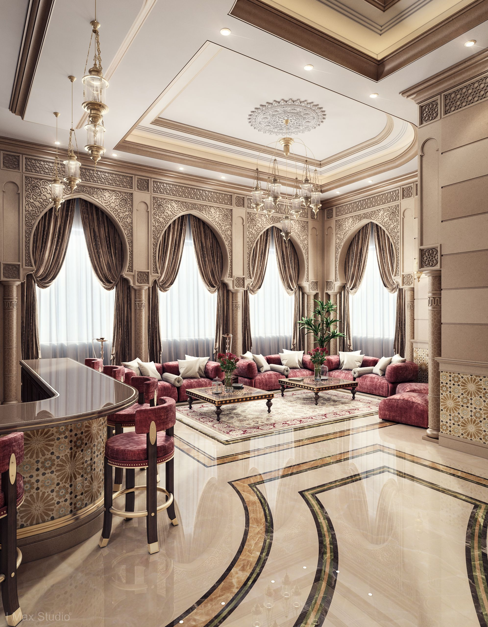 Luxury Ceiling Design Men Majlis And Dining Room And Kitchen House Design Luxury