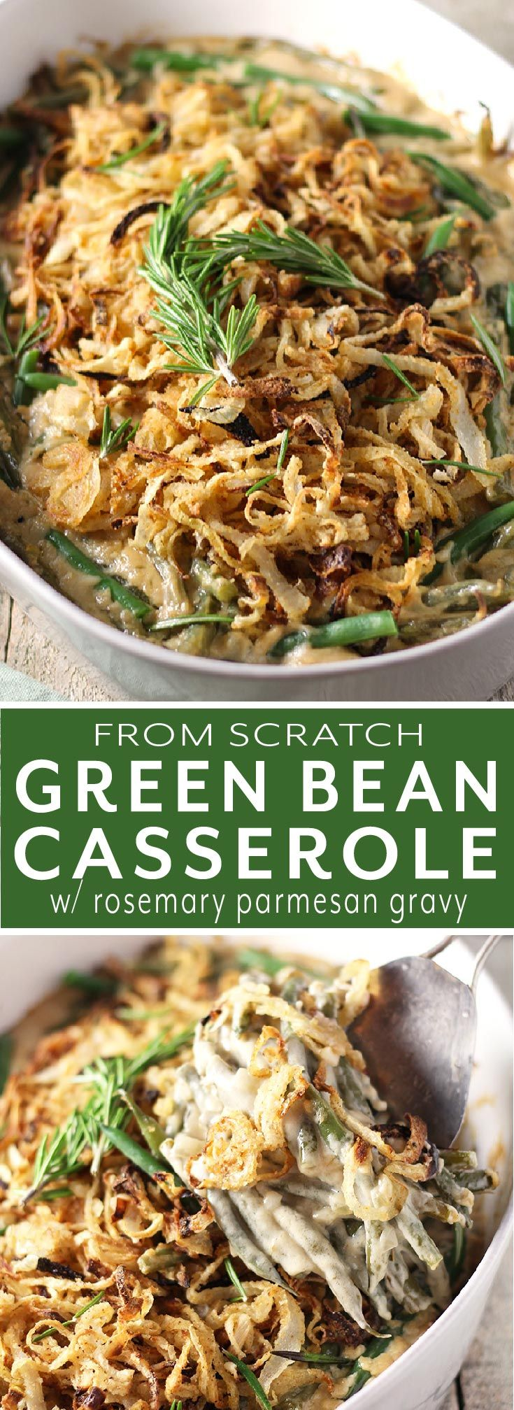 Green Bean Casserole with Rosemary Parmesan Gravy | Modern Farmhouse Eats #greenbeancasserole