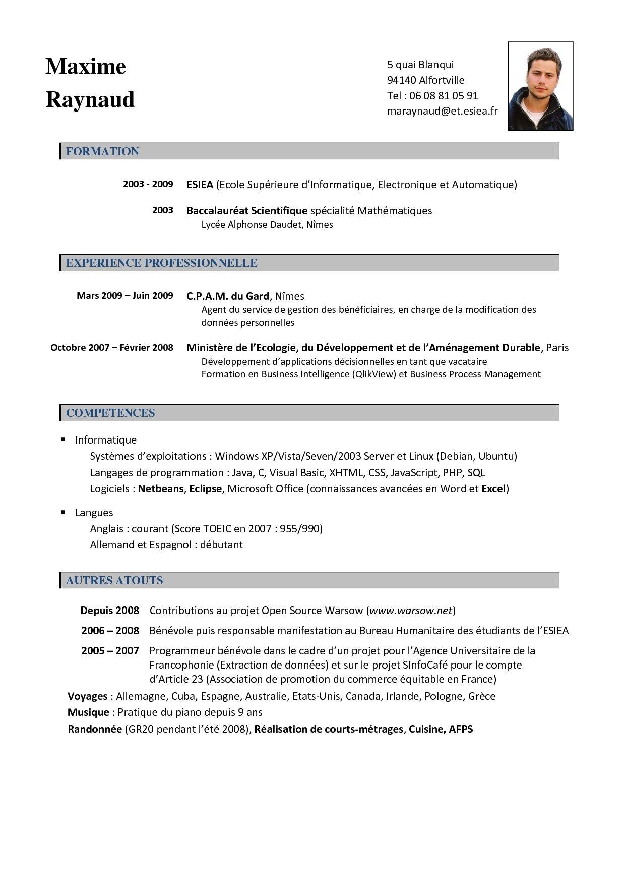 Curriculum Vitae Francais Modelos de curriculum vitae