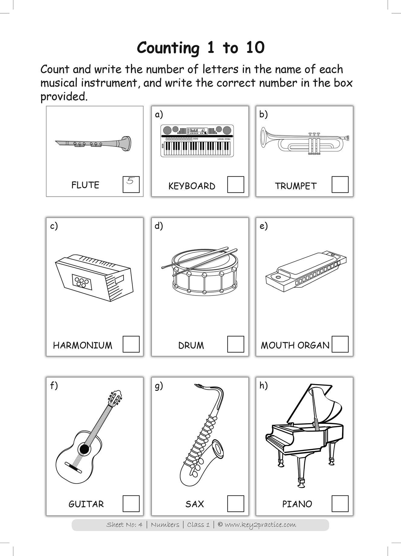 Class 1 Maths I Numbers 110 worksheets key2practice
