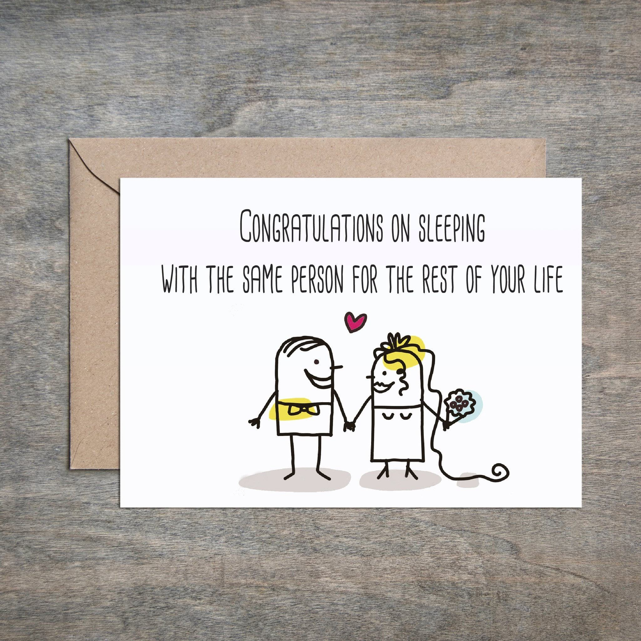 Congratulations On Sleeping With Same Person Funny Wedding Card Congratulations Wedding Ca