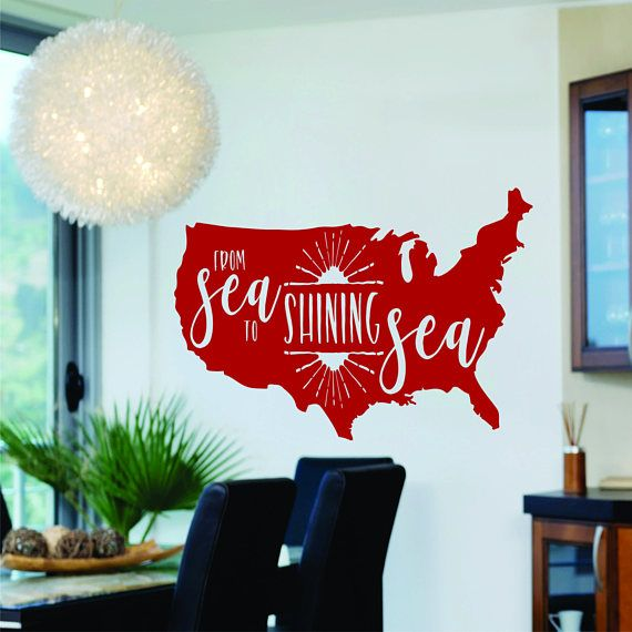 To Shining Sea USA Map Vinyl Decal Wall Sticker Large Custom - Large custom vinyl wall decals