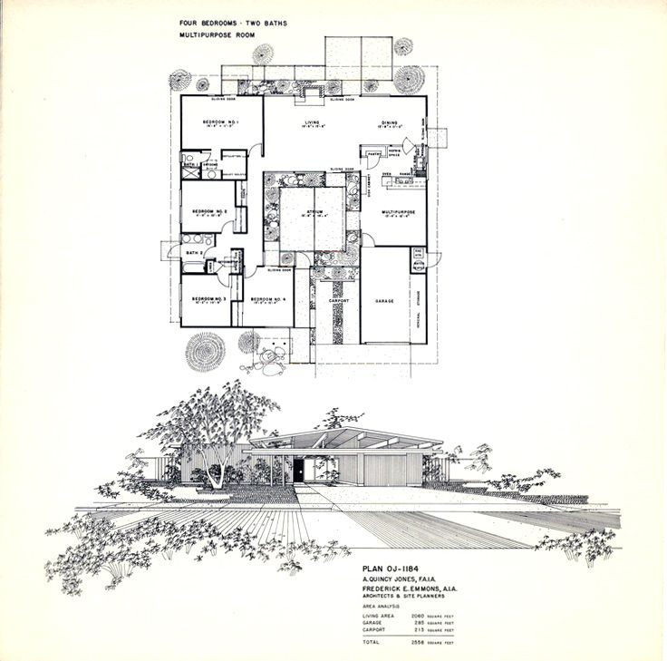 Floor Plan For An Eichler Home Designed By A. Quincy Jones