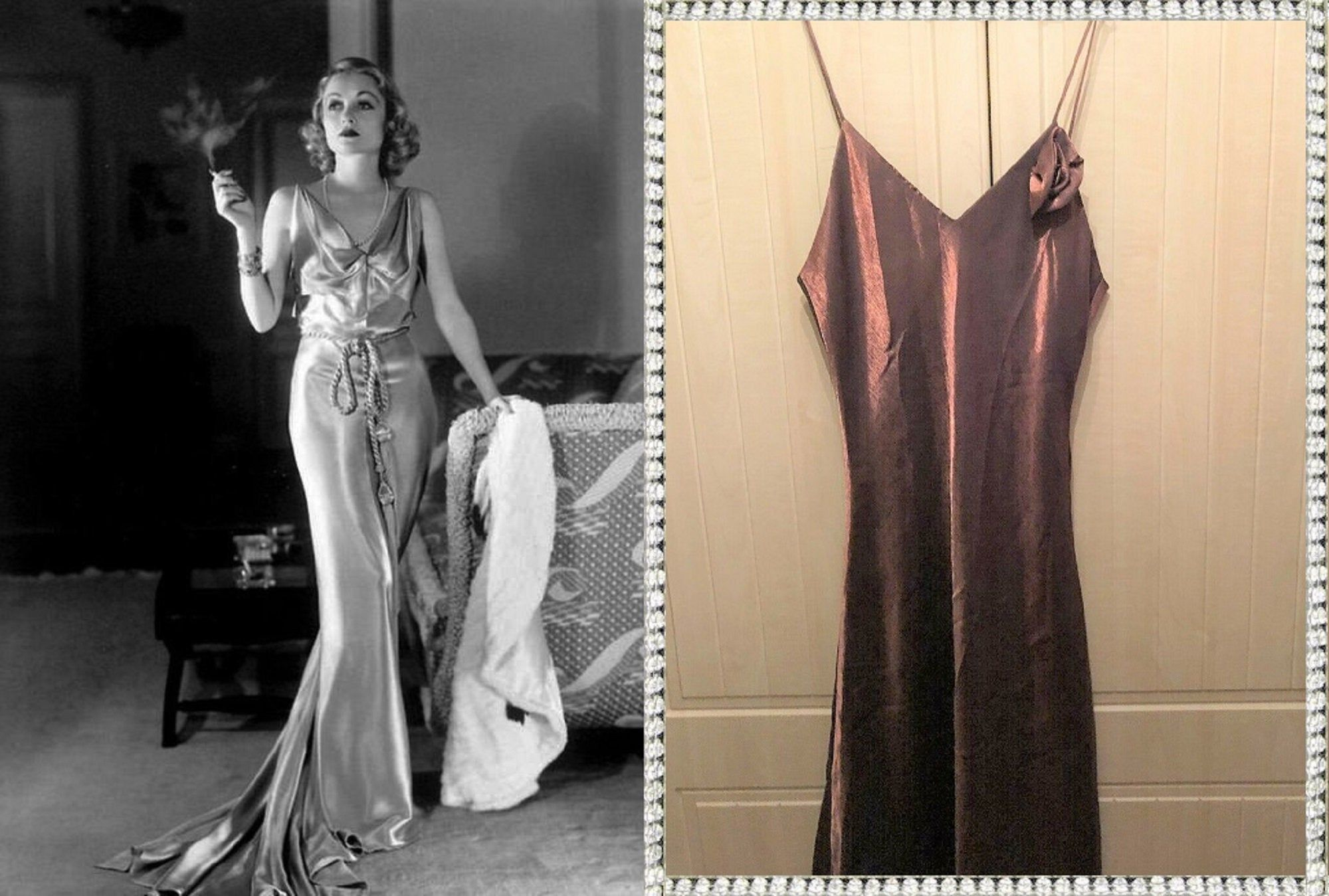 Bronze Dress Satin Dress Bronze Satin Dress Old Hollywood Glamour