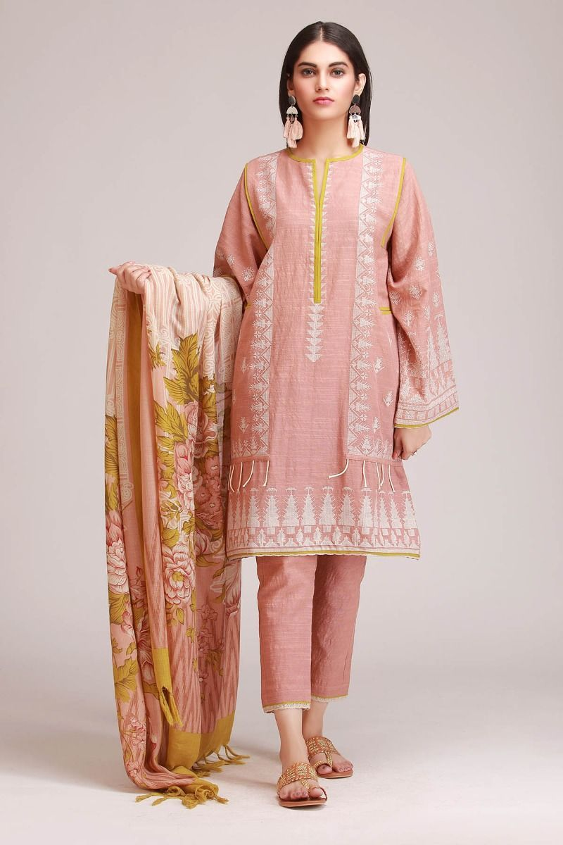739a2b6607f Peach Embroidered Khaadi Dress For Women with Printed Shawl - Khaadi Winter  Collection 2018-2019 Price  6900  wintercollection  readytowear  pret ...