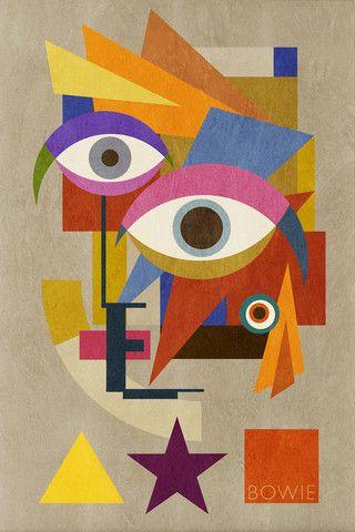 Bowie Bauhaus FIVE, David Bowie Portrait, 2016), Unique Monoprints 1/1 - Big Fat Arts | BFA Gallery | Czar Catstick - 1