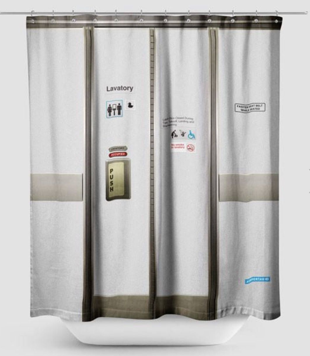 Aircraft Lav Door Shower Curtain Too Funny Shower Curtain Travel Bathroom Curtains