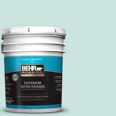 Behr Premium Plus 5 Gal M440 1 Rio Sky Satin Enamel Exterior Paint 905005 The Home Depot Exterior Paint Premium Plus Behr