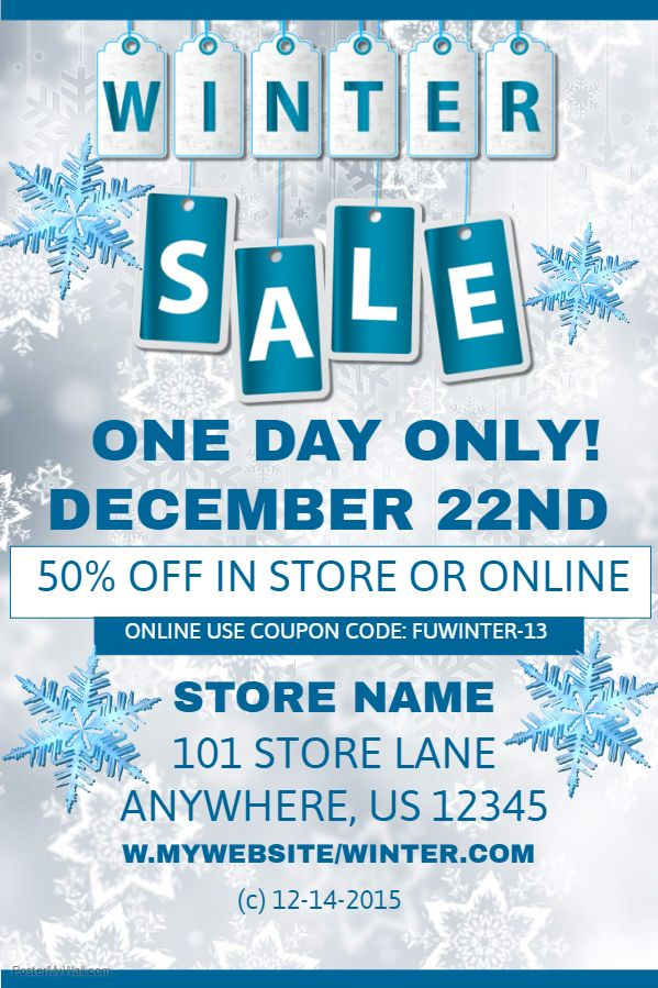 Winter Sales Event Poster Template Christmas Retail Poster - for sale poster template
