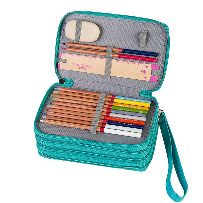 72 Slots Pencil Organizer Carry Bag Multi-layer Zippered Pencil Case 3 Colors