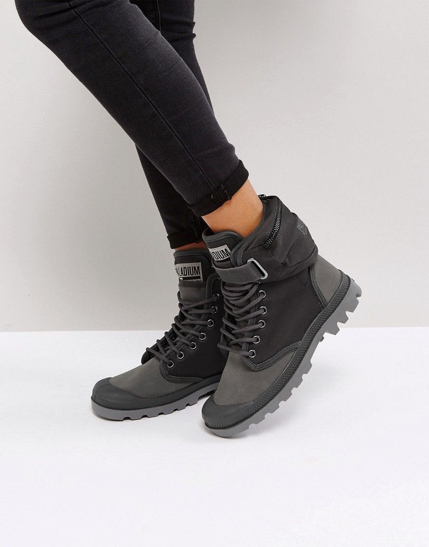 2b7d1bfed PALLADIUM PAMPA SOLID RANGER GRAY FLAT ANKLE BOOTS - GRAY.  palladium  shoes