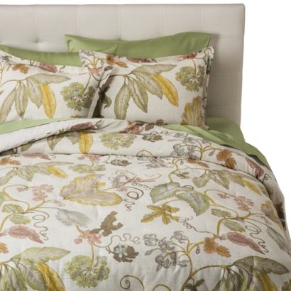 modern master bedroom with threshold seersucker duvet cover set | Threshold™ Green Botanical Comforter Set $31 | Duvet sets ...