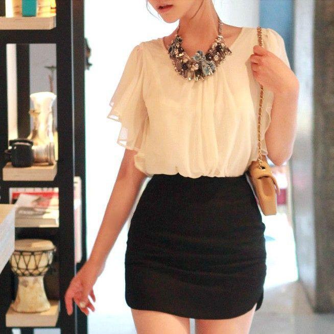 Coreano estilo casual solta borboleta luva Blusas Chffon Para Mulheres Camisa Verão 2013 Frete Grátis N3078