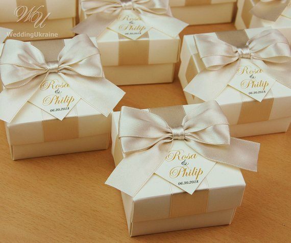 Ivory Champagne Wedding Favor Boxes With Satin Ribbon Bow And Tag