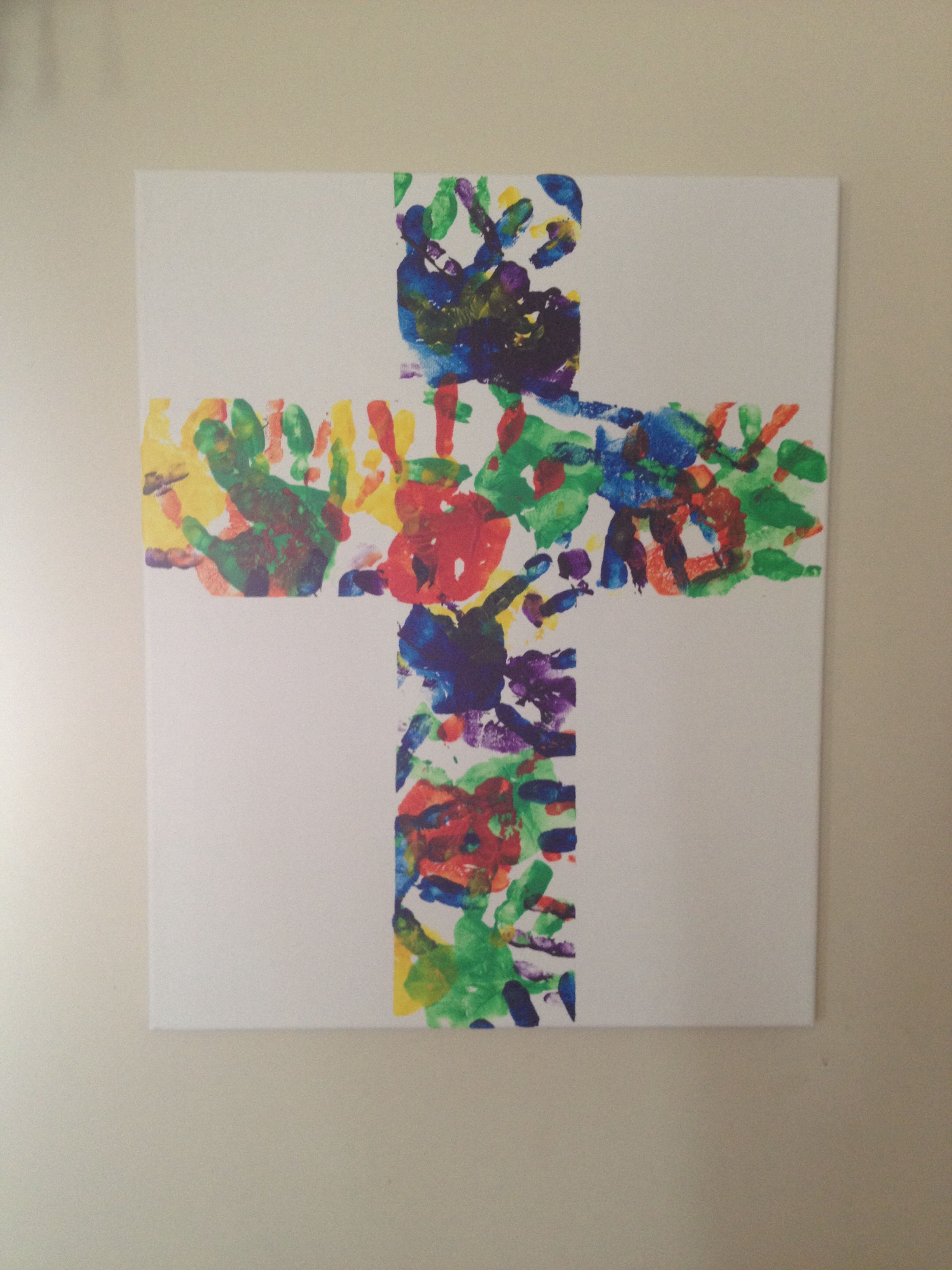 Hand Print Cross I Used My Childrens Hands To Make )