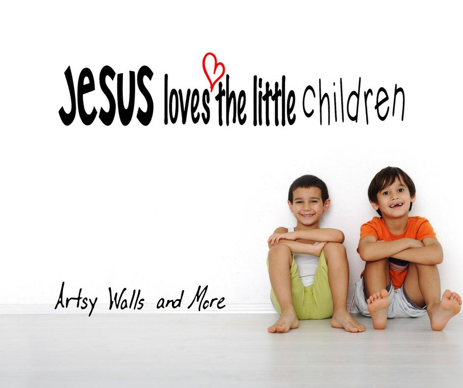 Wall Decal Jesus Loves The Little Children Vinyl Wall Decal - Church nursery wall decalsbest church nurserychildrens church decor images on