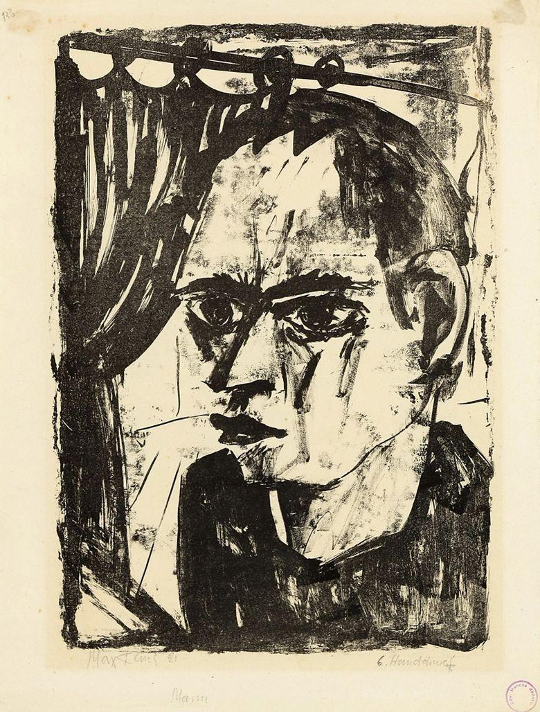 Max Kaus (German, 1891 – 1977)  Man (Self-portrait) (Mann (Selbstbildnis), 1921