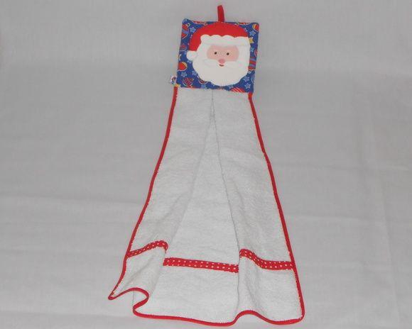 Bate mão composto por tecido de toalha e tecido de algodão com patch apliquê R$ 16,00