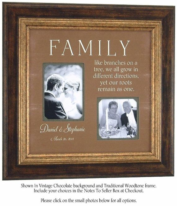 Custom Wedding Picture Frame With Family Quote For Parents Of The Bride Groom Personalized