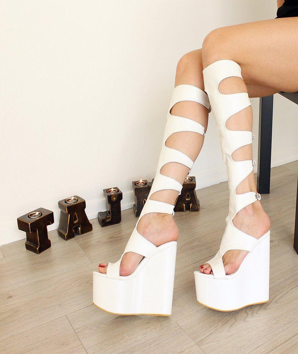 07af1ae9498 White Gladiator Wedge Boots High Heel Platform Shoes High Quality